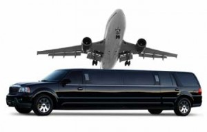 airplane and black limousine