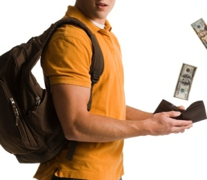 Man carrying bag and wallet full of money